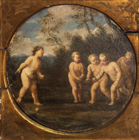 Manner of Francesco Albani Putti in a landscape diameter 10 1/2in