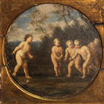 Manner of Francesco Albani Putti in a landsdcape diameter 10 1/2in