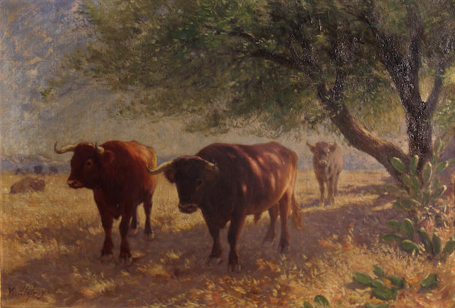 Fé lix Dominique de Vuillefroy (French, 1841-1910) Cattle grazing 15 x 21 3/4in