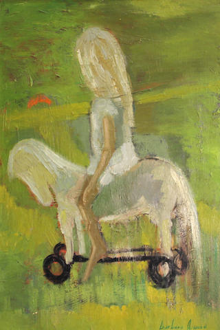Barbara A. Wood (American, 20th/21st Century) Girl on a toy horse 34 x 23 3/4in