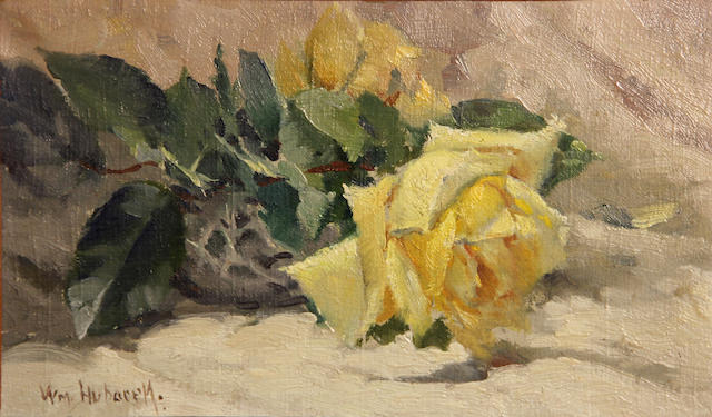 "William Hubacek, ""Yellow Rose"", Oil on canvas, approx. 9""x14""framed"
