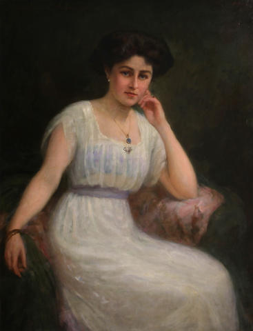 Charles Goldsborough Anderson (British, 1865-1936) A portrait of a lady in white 44 x 34in