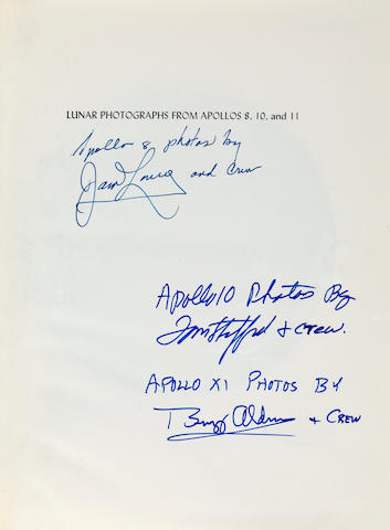 LUNAR PHOTOGRAPHY BY THE ASTRONAUTS—SIGNED. MUSGROVE, ROBERT G., editor. Lunar Photographs from Apollos 8, 10, and 11. Washington: 1971. NASA SP-246. vii, 119 pp. 10½ x 8 inches. Original cloth gilt.<BR />