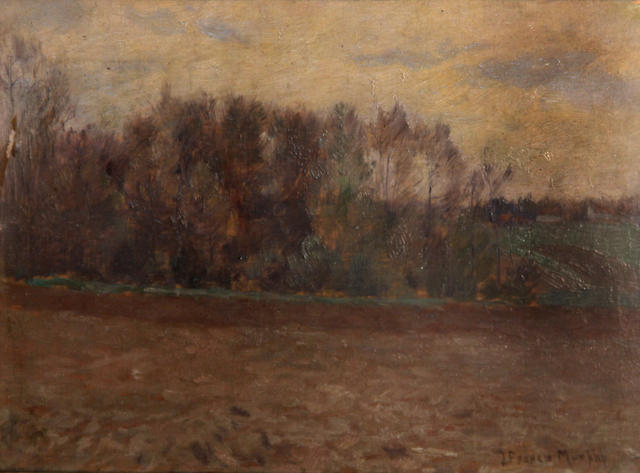 John Francis Murphy (1853-1921) Road by a stand of trees in autumn 5 1/2 x 9in