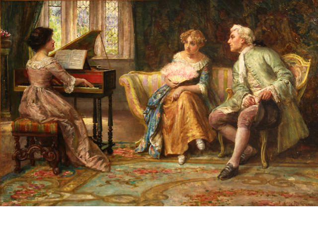 Francis Sydney Muschamp (British, 1851-1929) A musical interlude 16 x 24in