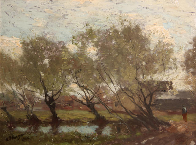 Henry Ward Ranger (American, 1858-1916) Trees along a pool, 1906 12 x 16in