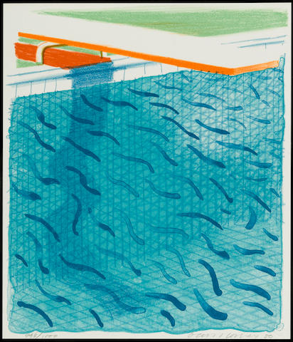 David Hockney (British, born 1937); Pool Made with Paper and Blue Ink for Book;