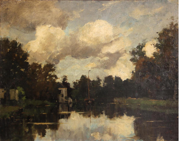 Attributed to Nicolaas Bastert (Dutch, 1854-1939) The river Vecht in Breukelen 14 x 18 1/4in
