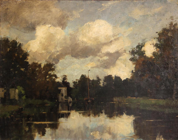 Attributed to Nicolaas Bastert (Dutch, 1854-1939) The river Vecht in Breukelen 14 x 18 1/4in