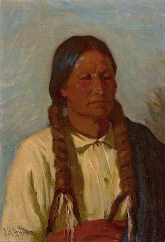 Joseph Henry Sharp (American, 1859-1953) Portrait of an Indian 14 x 10in
