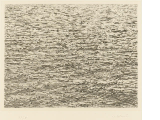 Vija Celmins (Latvian, born 1939); Drypoint - Ocean Surface;