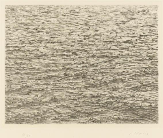 Vija Celmins (Latvian, born 1939); Drypoint - Ocean Surface;