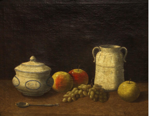 Follower of George Smith of Chichester, Still life with apples, grapes and crockery, oil on canvas, 18 x 22