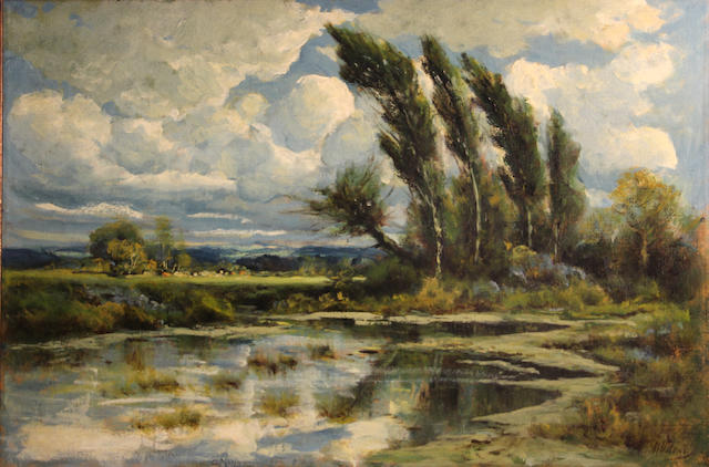 Manuel Valencia (American, 1856-1935) Wind swept trees beside a pond 20 x 30in