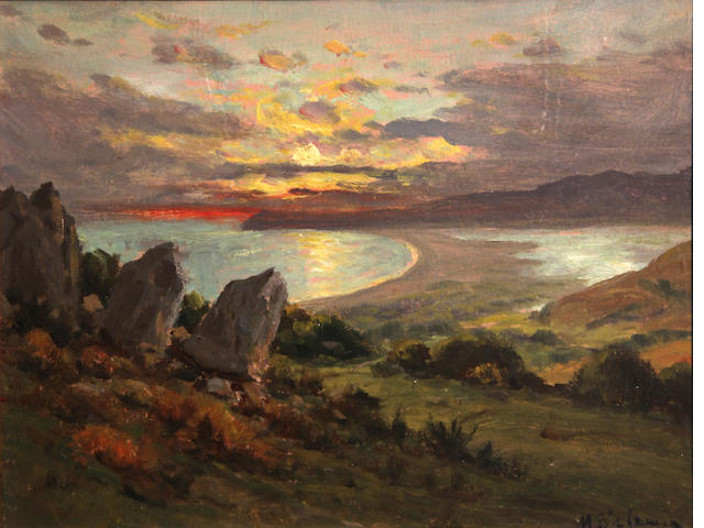 Manuel Valencia (American, 1856-1935) Stinson Beach, looking toward Bolinas 10 x 14in