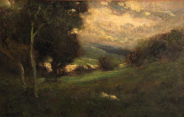William Keith (Scottish/American, 1838-1911) Sunlight in the valley 9 x 14in