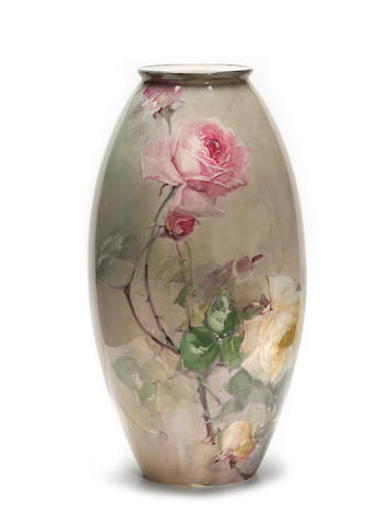 Franz Arthur Bischoff (American, 1864-1929) Ovoid vase with pink and yellow roses, 1908 height: 14 3/4in