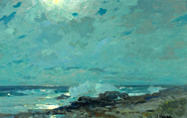 William Frederick Ritschel (American, 1864-1949) Moonlit shore, Carmel 15 x 23 3/4in
