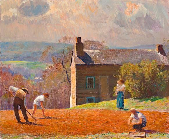 Daniel Garber (American, 1880-1958) Spring Planting - Stony Ridge 25 x 30in