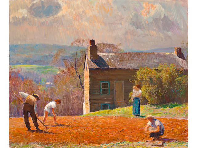 Daniel Garber (American, 1880-1958) Spring Planting - Stony Ridge, ca. 1947 25 x 30in