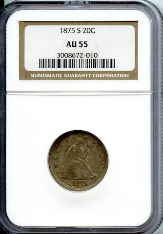 1875-S 20C AU55 NGC