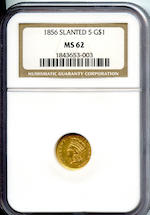 1856 Slanted 5 G$1 MS62 NGC