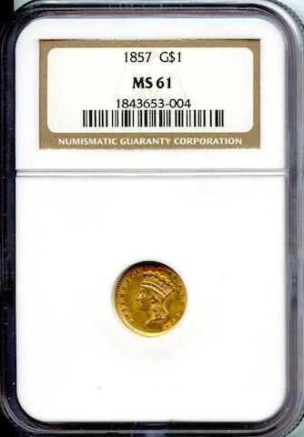 1857 G$1 MS61 NGC