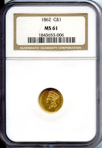 1862 G$1 MS61 NGC