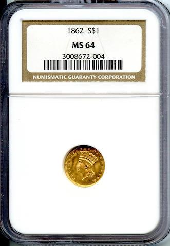 1862 G$1 MS64 NGC