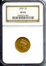 1855 $3 XF45 NGC