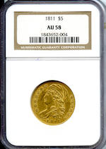 1811 $5 AU58 NGC