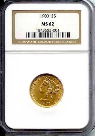 1900 $5 MS62 NGC