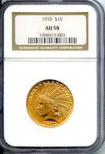 1910 $10 AU58 NGC