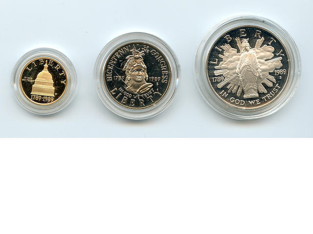 1989-S 3 Piece Proof Congressional Coins Set in Gold and Silver