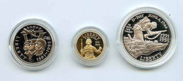 1995 3 Piece Proof World War II 50th Anniversary Coins Set in Gold and Silver