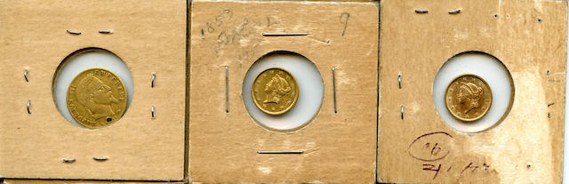 1853 Gold Dollars (2) and a France, 5 Francs Gold 1867