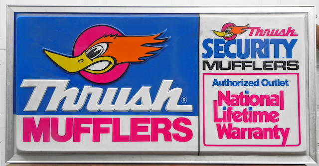 An Original NOS 'Thrush Muffler' dealer sign,