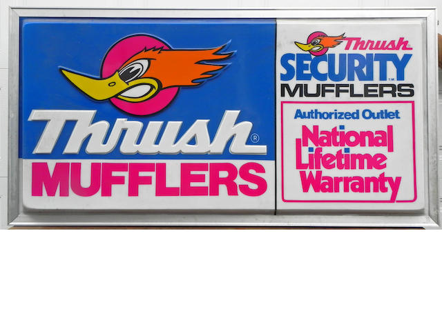 An Original, NOS 'Thrush Muffler' dealer sign,
