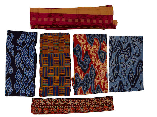 A group of five assorted Asian textiles 20th century