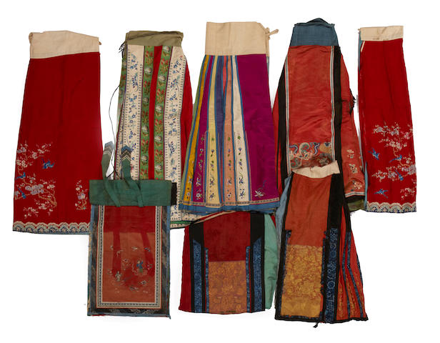 A group of seven Chinese skirt and skirt fragments