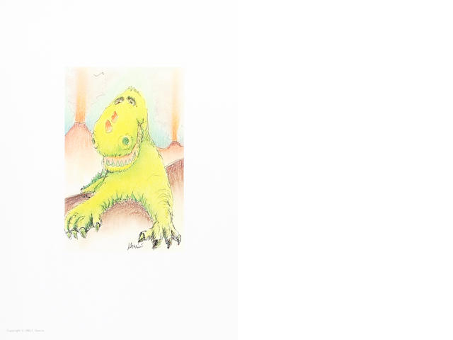 "A Jerry Garcia lithograph, ""Reluctant Dragon,"" used to create the design for the tie of the same name, [1991]"