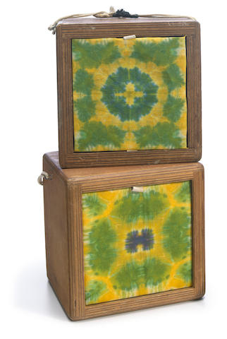 "Two Grateful Dead speakers with original Courtenay Pollock tie-dye art, ""The Cubes,"" fully restored using original parts from hard trucker speaker cubes"