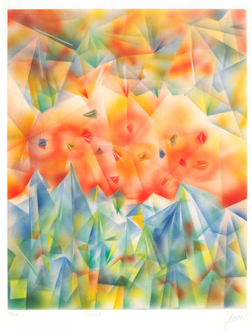 "A Jerry Garcia lithograph, ""Facets I,"" gifted to his brother and sister-in-law, Clifford ""Tiff"" Garcia and Gayle Garcia"