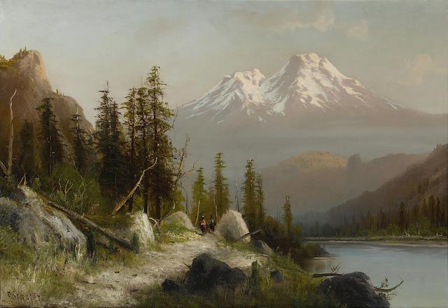 Frederick Ferdinand Schafer (German/American, 1839-1927) Morning on Mount Shasta, 14,400 feet high from Shasta Lake, California  30 x 44in