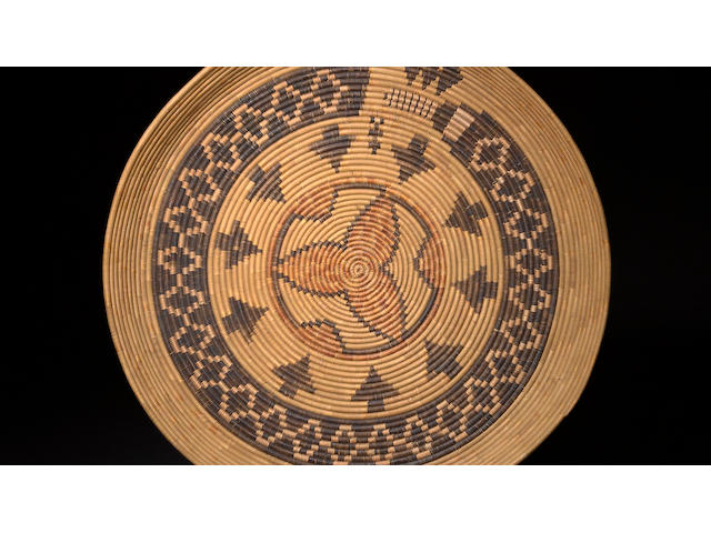 A Mission polychrome rattlesnake tray