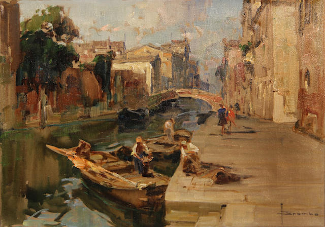 Angelo Brombo (Italian, 1893-1962) A Venetian backwater 12 x 16in unframed