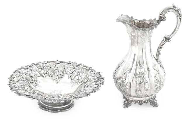 A Victorian silver floral chased footed bowl and large pitcher  Charles Reily & George Storer, London, 1848 and 1850