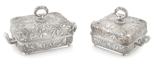 Two American sterling silver repousse-decorated covered serving dishes Dominick & Haff, New York, NY, 1881, retailed by Theodore B. Starr, New York