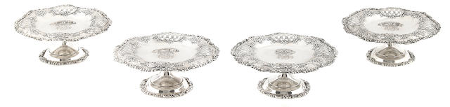 A set of four American sterling silver tazze Tiffany & Co., New York, NY, 1892 - 1902