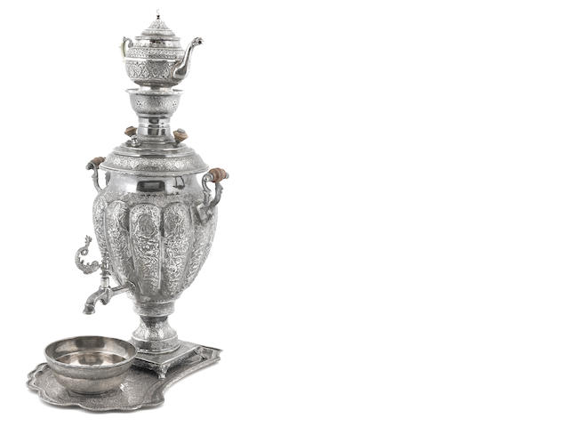 A Persian  84 standard silver  samovar  Late 19th / early 20th century